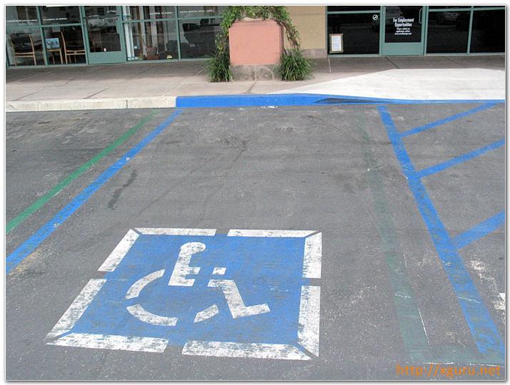 파란색 장애인 우선 주차구역