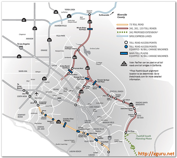 Toll Road Map - 73,133,241,261