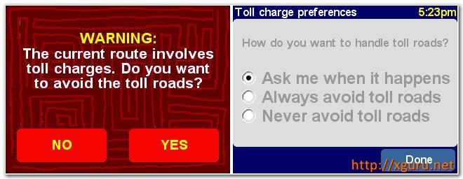 Tomtom Toll road avoiding