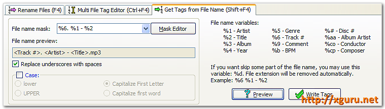 Get Tags from Filename