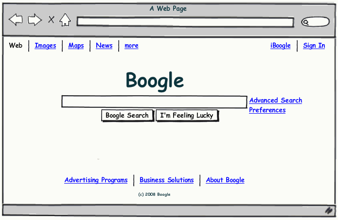 Boogle with Balsamiq