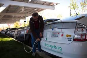 Electric Car Plugin Recharging at Google