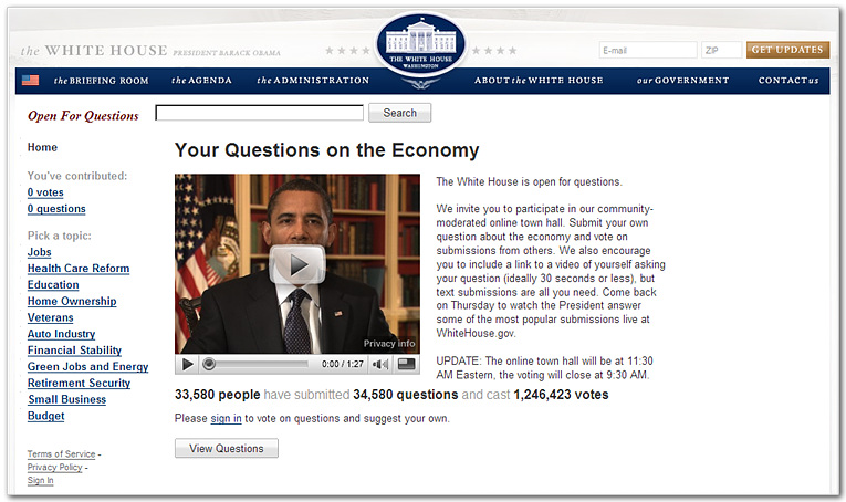 Whitehouse Open for Questions