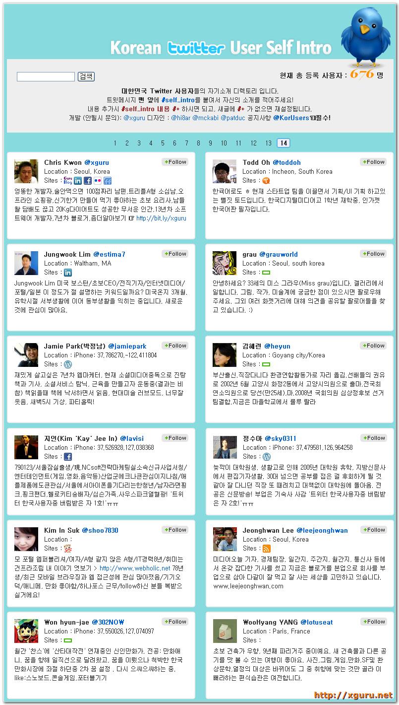 Korean Twitter User Self Intro